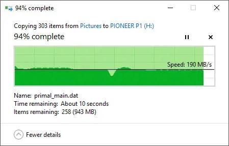 Pioneer P1 (APS-XS02) 240GB file transfer in