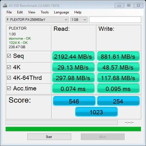 Plextor M8SeY AS SSD Benchmark