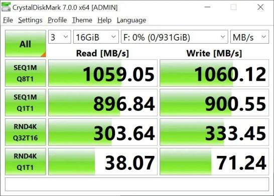 ROG Strix Arion Crystal Disk Mark 16GB