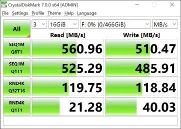 T-Force Delta Max 500GB 16GB Crystal Disk Mark (1)