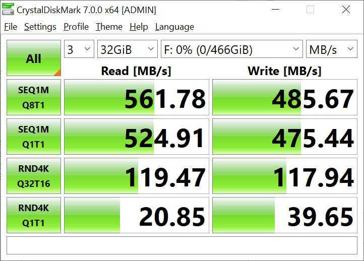 T-Force Delta Max 500GB 32GB Crystal Disk Mark (1)
