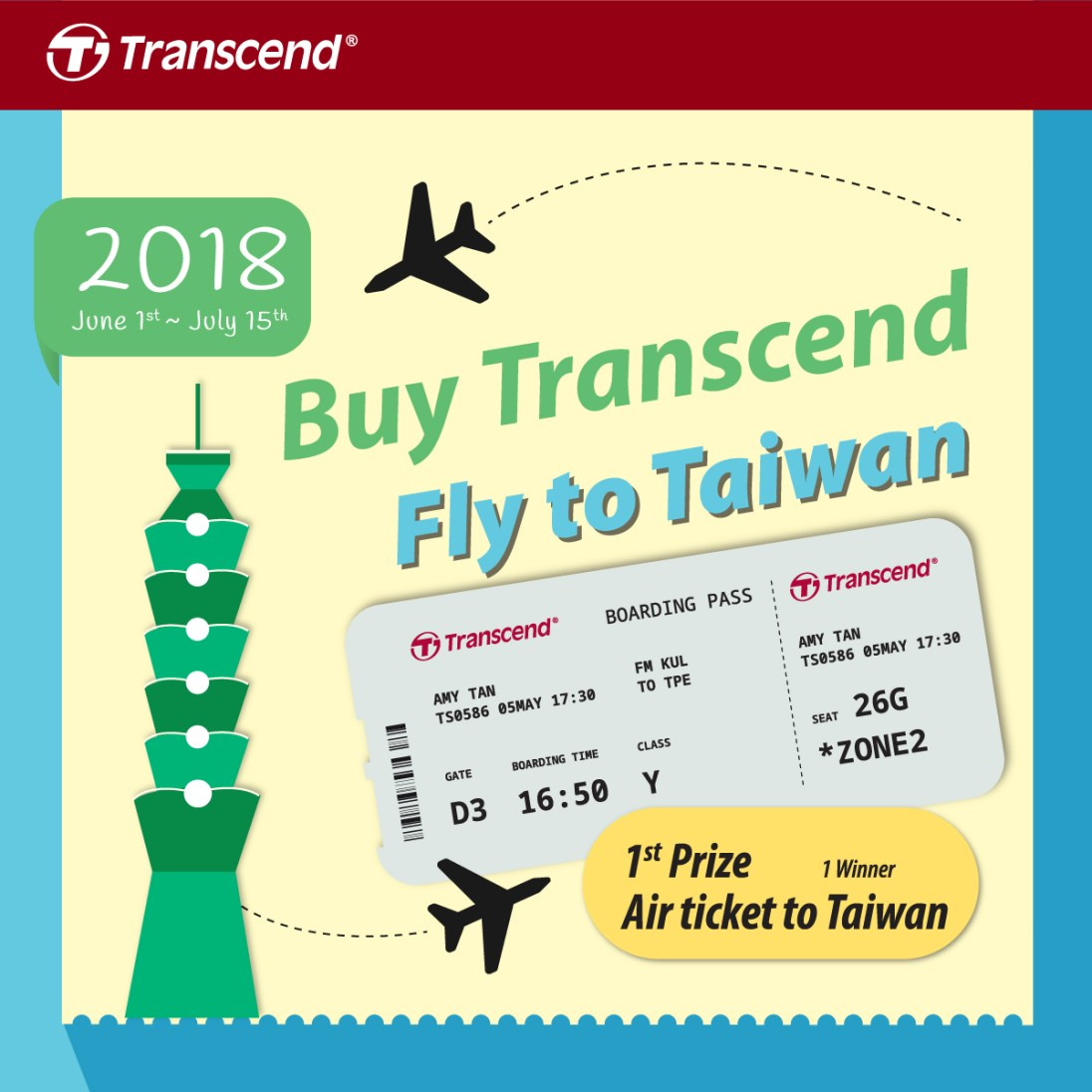 Transcend Fly To Taiwan Campaign Malaysia 2018