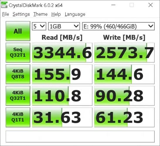 WD Black NVME SSD Crystal Disk Mark 2