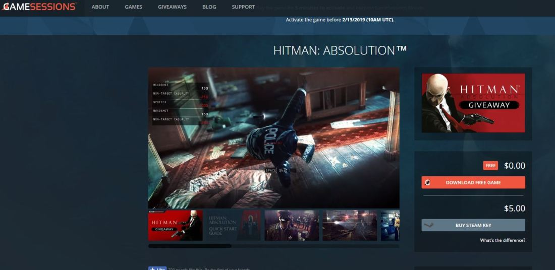 hitman absolution free gamesessions