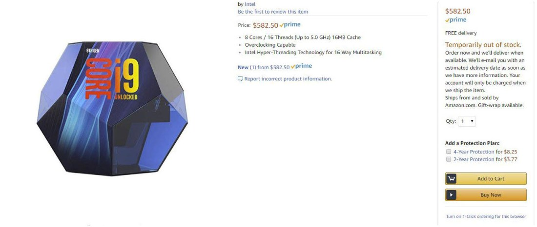 intel core i9 9900K leaked packaging amazon