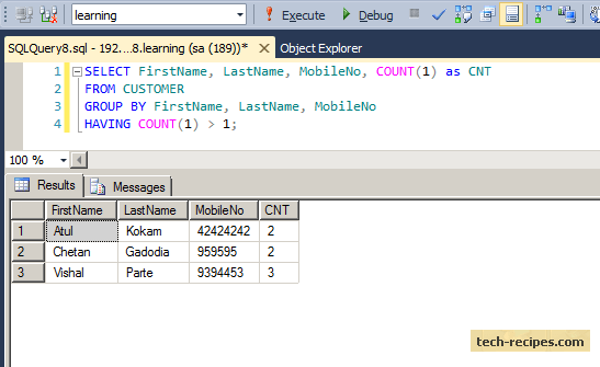 Finding Duplicates Records Using Group by in SQL Server (1)