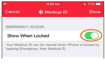 Show Medical ID Button