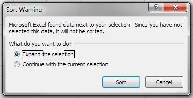 Excel Sort Warning