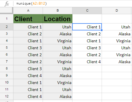 How to Use Google Sheets Unique Function