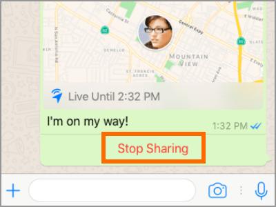 Whatsapp Live Location Arrêter le partage