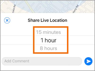 iPhone Whatsapp Partager Live Location Bouton Choisissez l'heure