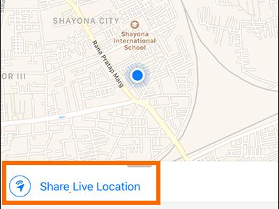 Bouton de localisation en direct WhatsApp iPhone