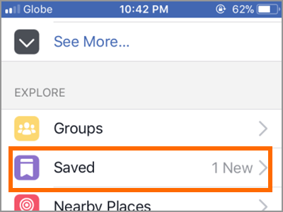Facebook App Plus d'options SAVED