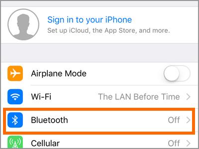 Menu de l'iPhone Menu Bluetooth