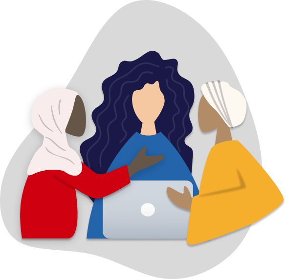 tech sisters- a newsletter for muslim women in tech. illustration of a three women working together over a laptop