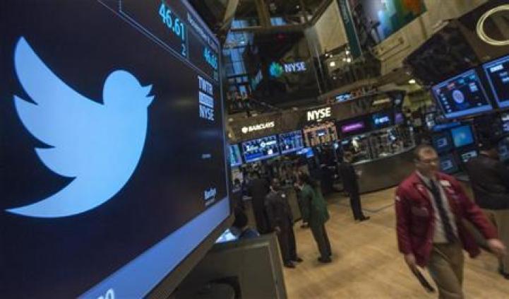 Twitter logo is displayed on the floor of the New York Stock Exchange