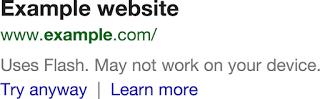 flash serp note قوقل تحذر المستخدمين من عدم توافقية المواقع مع الأجهزة الذكية في نتائج البحث