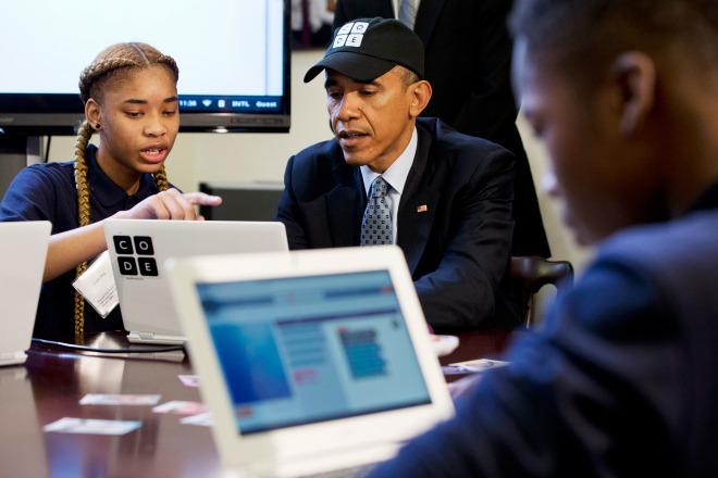 أوباما أول رئيس يكتب شيفرة برمجية