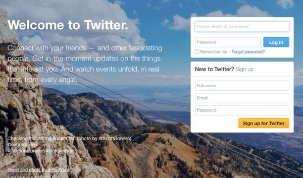 الشكل الحالي لصفحة تويتر