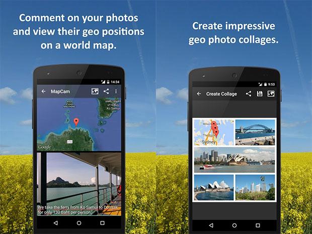 MapCam إلتقاط الصور وعرض مكانها الجغرافي على الخريطة في أندرويد