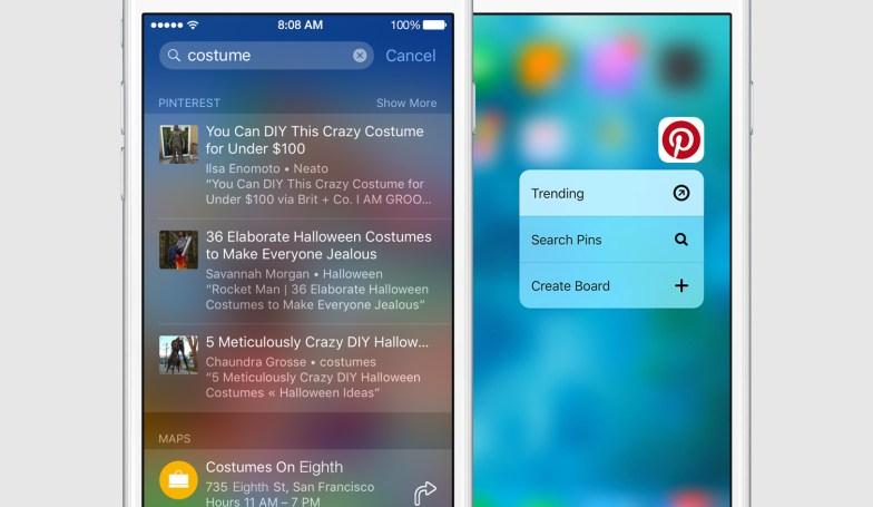 Pinterest يجلب الدعم لخاصية 3D Touch و Spotlight على iOS 9