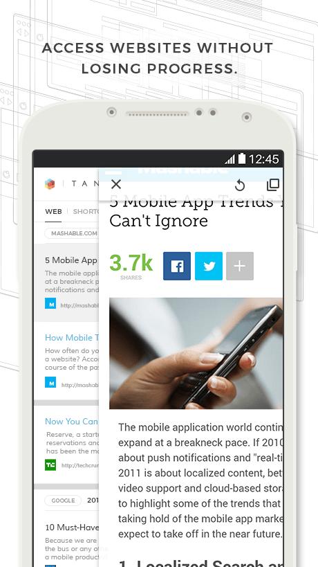 متصفح Tangram لتوفير الوقت وزيادة الإنتاجية على أندرويد