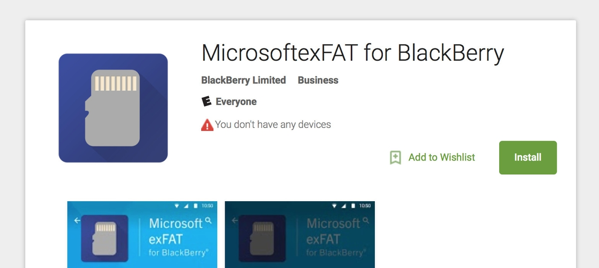 MicrosoftexFAT for BlackBerry