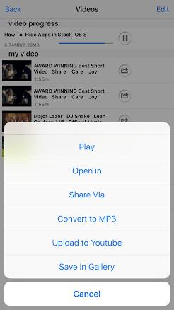 Secret folder على iOS لتحميل الفيديوهات من يوتيوب وفيسبوك