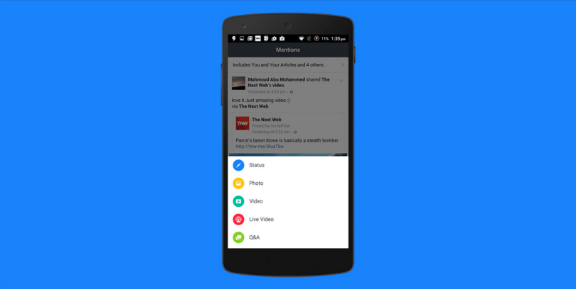 تطبيق Mentions من فيسبوك يصل متجر قوقل بلاي
