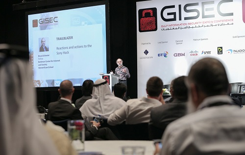 Image 01 - Bruce Schneier during his keynote speech at GISEC 2015