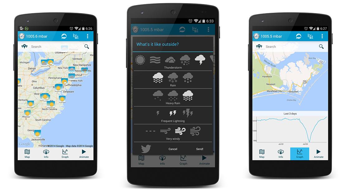 PressureNet على أندرويد لمعرفة حالة الطقس من خلال أجهزة الإستشعار
