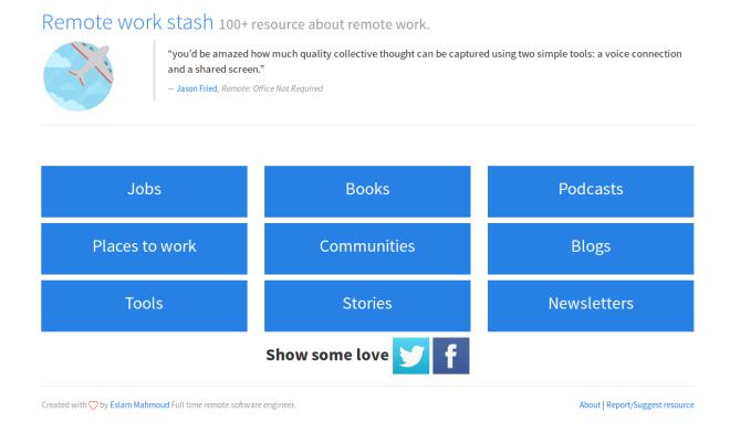 Remote work stash 100+ resource about remote work.
