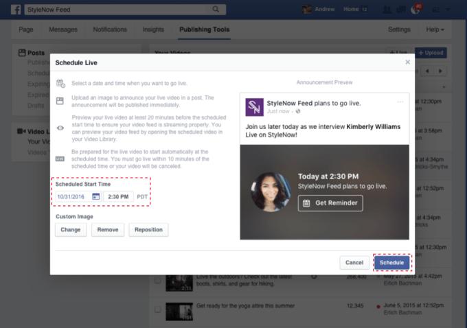 جدولة البث المباشر فيس بوك