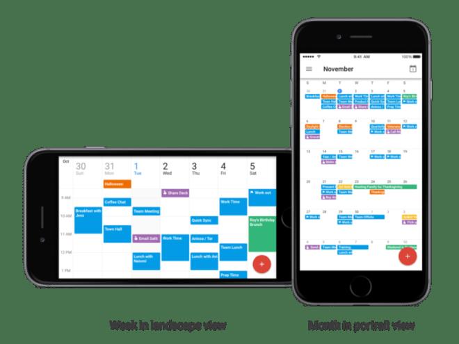 تطبيق التقويم من قوقل على iOS يدعم الآن عرض الشهر والأسبوع أفقيًا