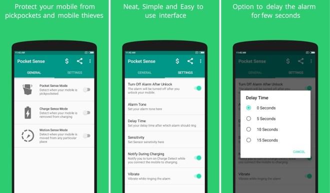 تطبيق حماية الهاتف من السرقة Pocket Sense على أندرويد