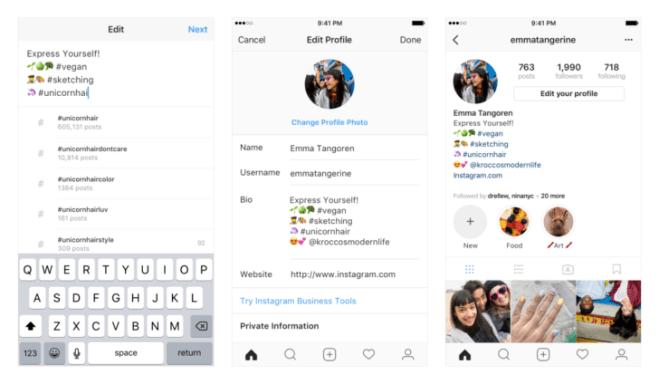 انستغرام تسمح بإضافة @ و # في الملف الشخصي كروابط قابلة للنقر