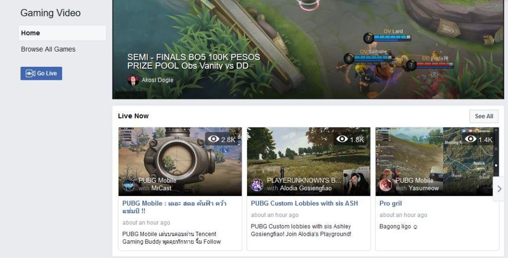 فيسبوك تطلق منصة Fb.gg لبث فيديوهات الألعاب الالكترونية بشكل مباشر