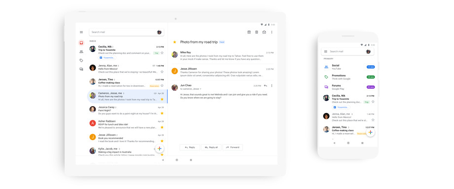 Google has unveiled a beautiful Android and iOS application with new design and web design improvements