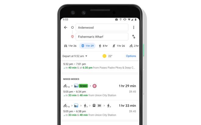 خرائط جوجل تجمع بين خيارات خدمات الدراجات والنقل التشاركي في اقتراحات العبور
