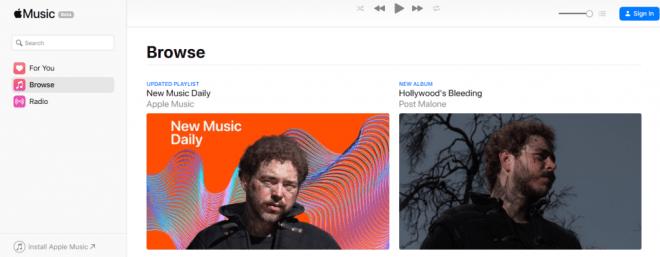 خدمة آبل الموسيقية أصبحت متاحة على الويب بنسخة تجريبية
