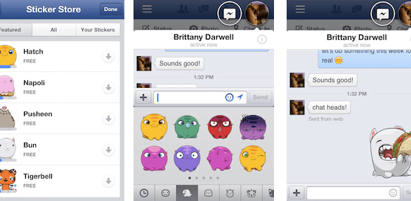 Facebook stickers desktop chat