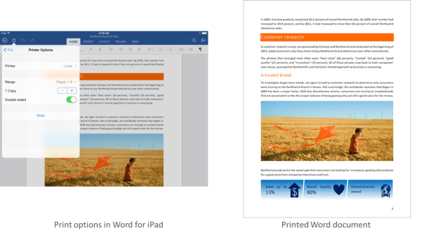 Office voor iPad print functionaliteit Word