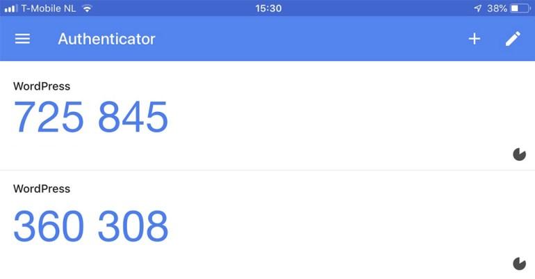 GoogleAutenticator voorbeeld