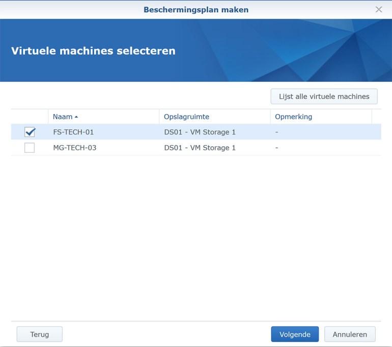 Synology VMM Snapshot replication BeschermPlan03