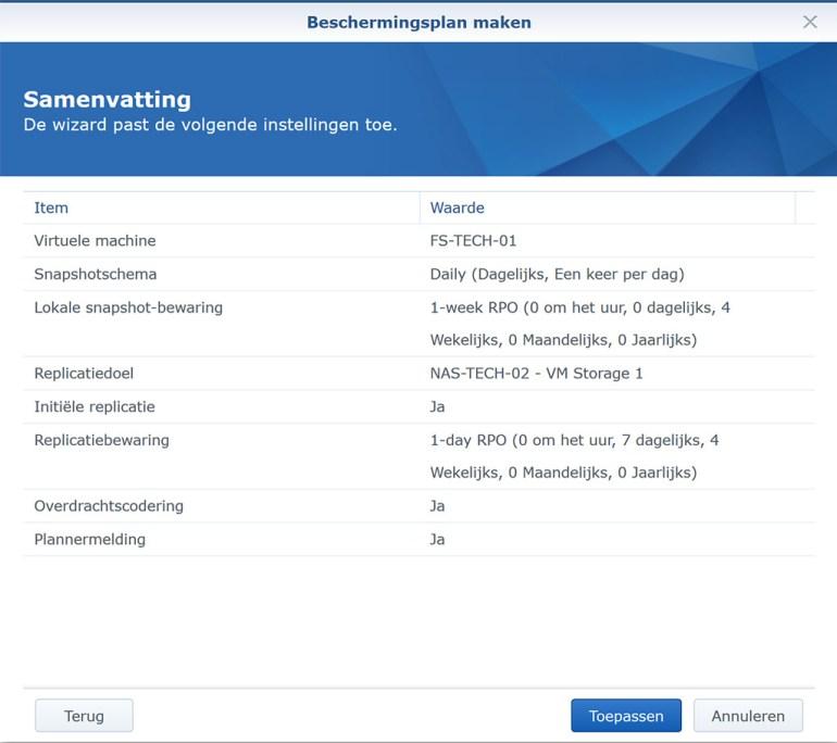 Synology VMM Snapshot replication BeschermPlan09