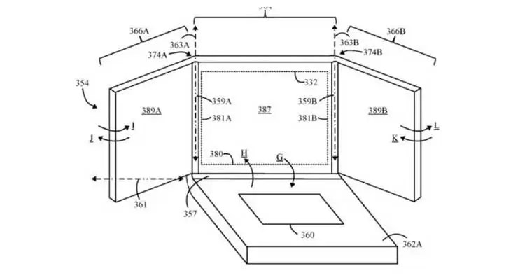 Lenovo brevetta un notebook con 3 display pieghevoli