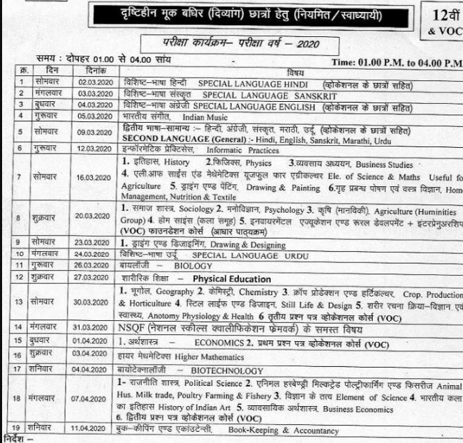 Madhya Pradesh Board Exam  2020 Time Table Released Class 10th
