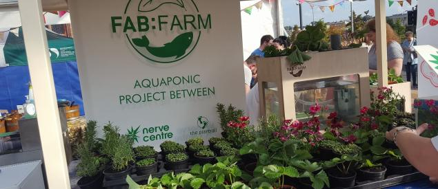 FabFarm Aquaponic Project banner with plants