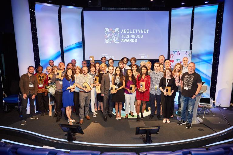 Photo of 2017 Tech4Good Awards Winners on Stage at BT Centre