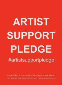 Artist support pledge text logo with #ArtistSupportPledge